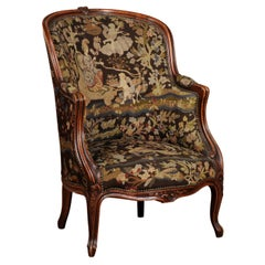 French Louis XV Style 19th Century Bergère Chair with Mythological Needlepoint