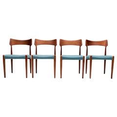 Set of 4 Dining Room Chairs by C. Linneberg for B. Pedersen, Denmark, 1970's