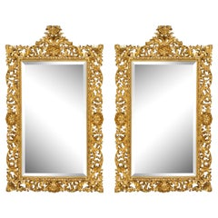 Unusual Pair of 19th C Hand-Carved Italian Giltwood Wall Mirrors