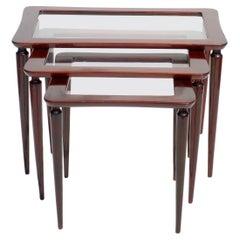 1950s Ico Parisi Italian Design Mahogany Nesting Tables
