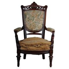 19th Century Unique Empire Armchair Around 1820, France, Mahogany
