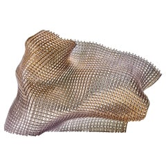 Synchronous I, a Unique Gold and Woven Glass Sculpture by Cathryn Shilling