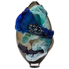 Torrent, a Unique Blue, Aqua, Black and Smoke Glass Vase by Bethany Wood