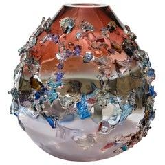 Sakura TRP20019 Glass Vase in Ruby, Lilac, Grey & Aqua by Maarten Vrolijk