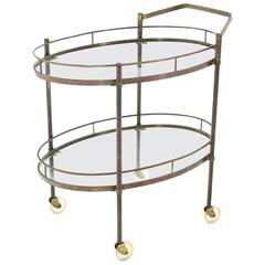 Oval Two Tier Brass Tea Cart or Serving Table