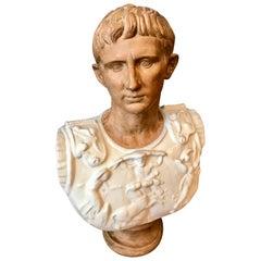 Life Size Mid Century Terra Cotta Bust of Augustas