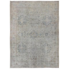 Antique Large Turkish Oushak Rug in Light Blue, Wheat, Camel and Gray