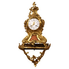 19th Century French Louis XV Rococo Bronze Dore Clock with Wall Support