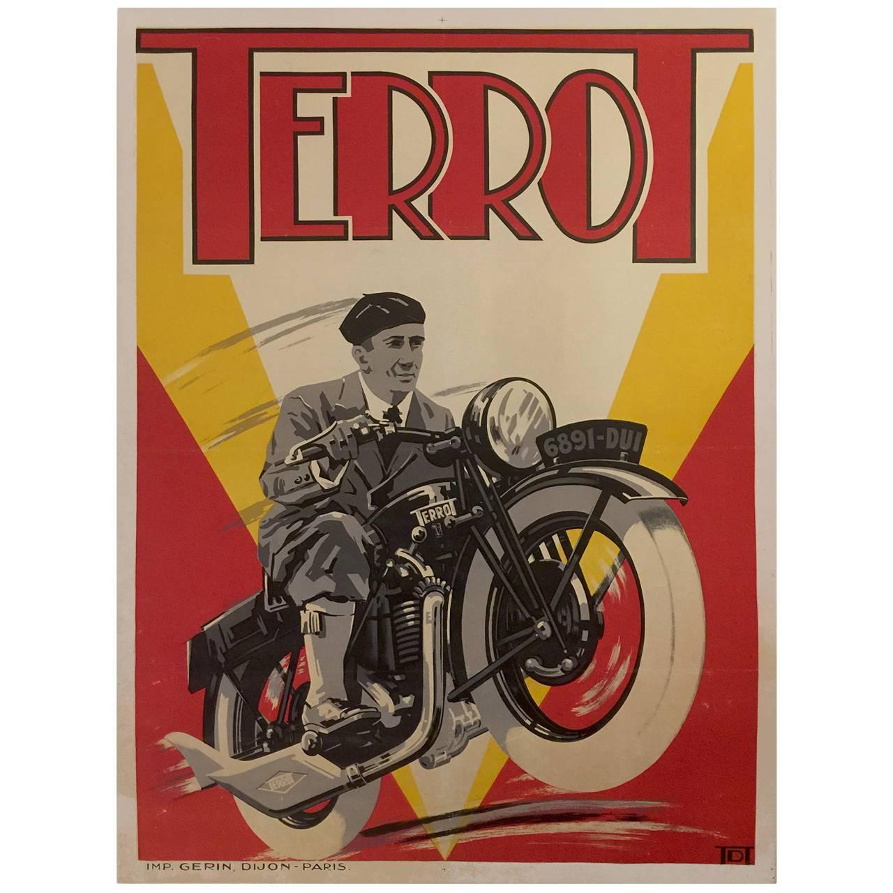 Art Deco Posters: French Art Deco Period Advertising Poster For Terrot