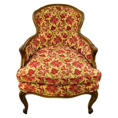 19th Century French Louis XV Bergere Arm Chair in a Fine Floral Upholstery