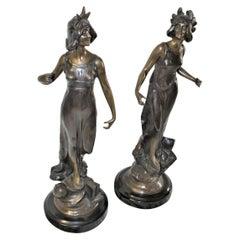 Art Deco Lady Sculptures the Pair