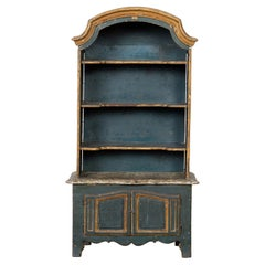 French 19th Century Rococo Style Miniature Painted Cabinet with Arching Top