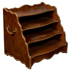 English Midcentury Leather Magazine Rack with Four Shelves and Brass Nailheads