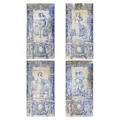 Set of Four Seasons Blue & White Tiles