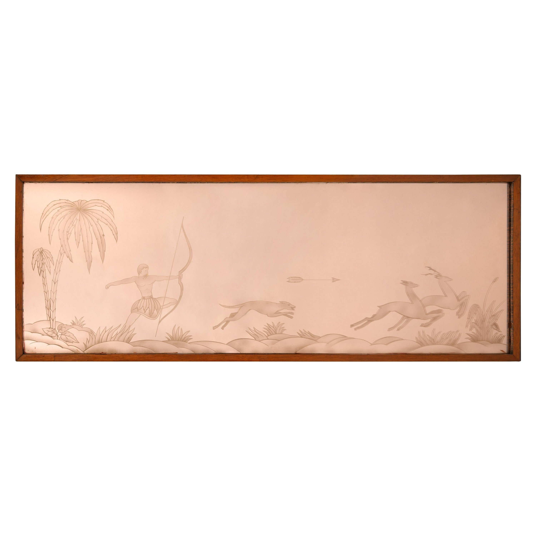 Art Deco Peach Engraved Mirror