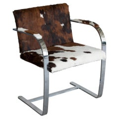 Mies van der Rohe Flat Chromed Steel for Knoll Cow Fur 255 Brno Chair