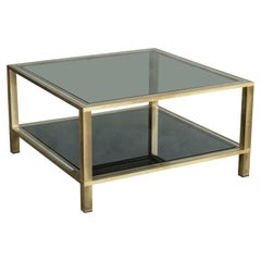 1970s Smoked Glass Chromed Steel and Brass structure Coffee Table