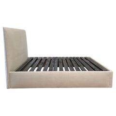 Custom Made Upholstered Queen Bed with Organic Belgian Linen Headboard