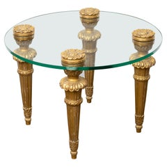 French Midcentury Carved Giltwood Drinks Table with Round Glass Top and Rosettes