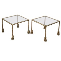 Pair of Midcentury Italian Gilt Metal Drinks Tables with Glass Tops and Tassels