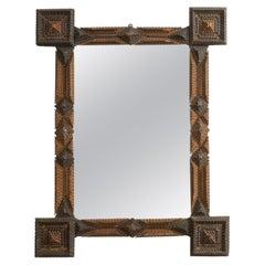 French Turn of the Century Tramp Art Mirror with Geometric Motifs, circa 1900
