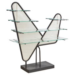 Italian Perforated Metal Etagere with Floating Glass Shelves