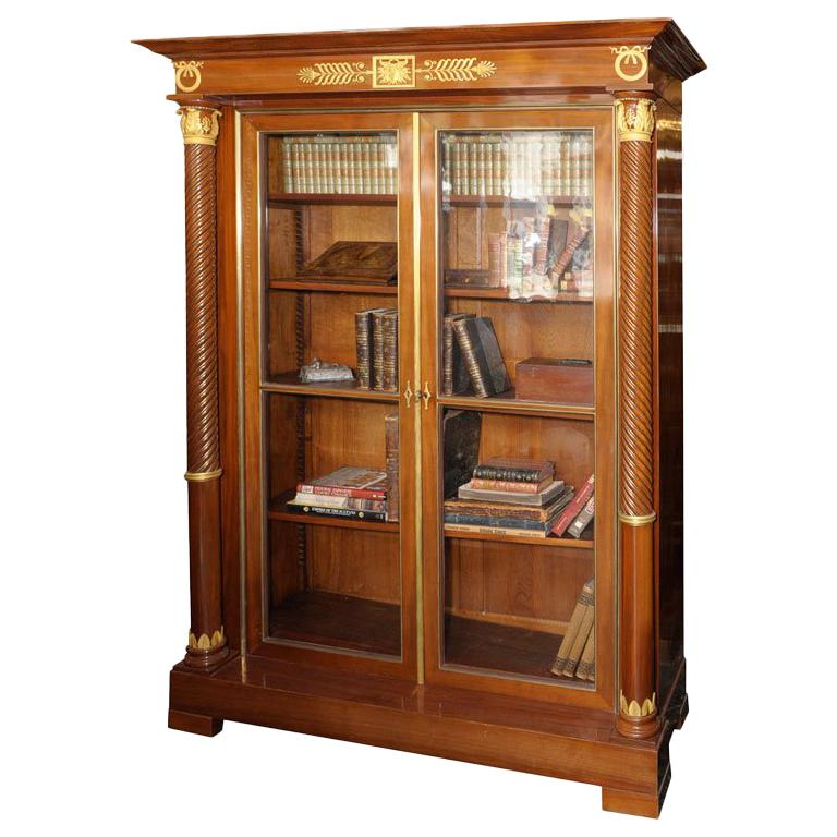 Empire Style Mahogany Bookcase Bibliotheque, French, Late 19th Century For Sale