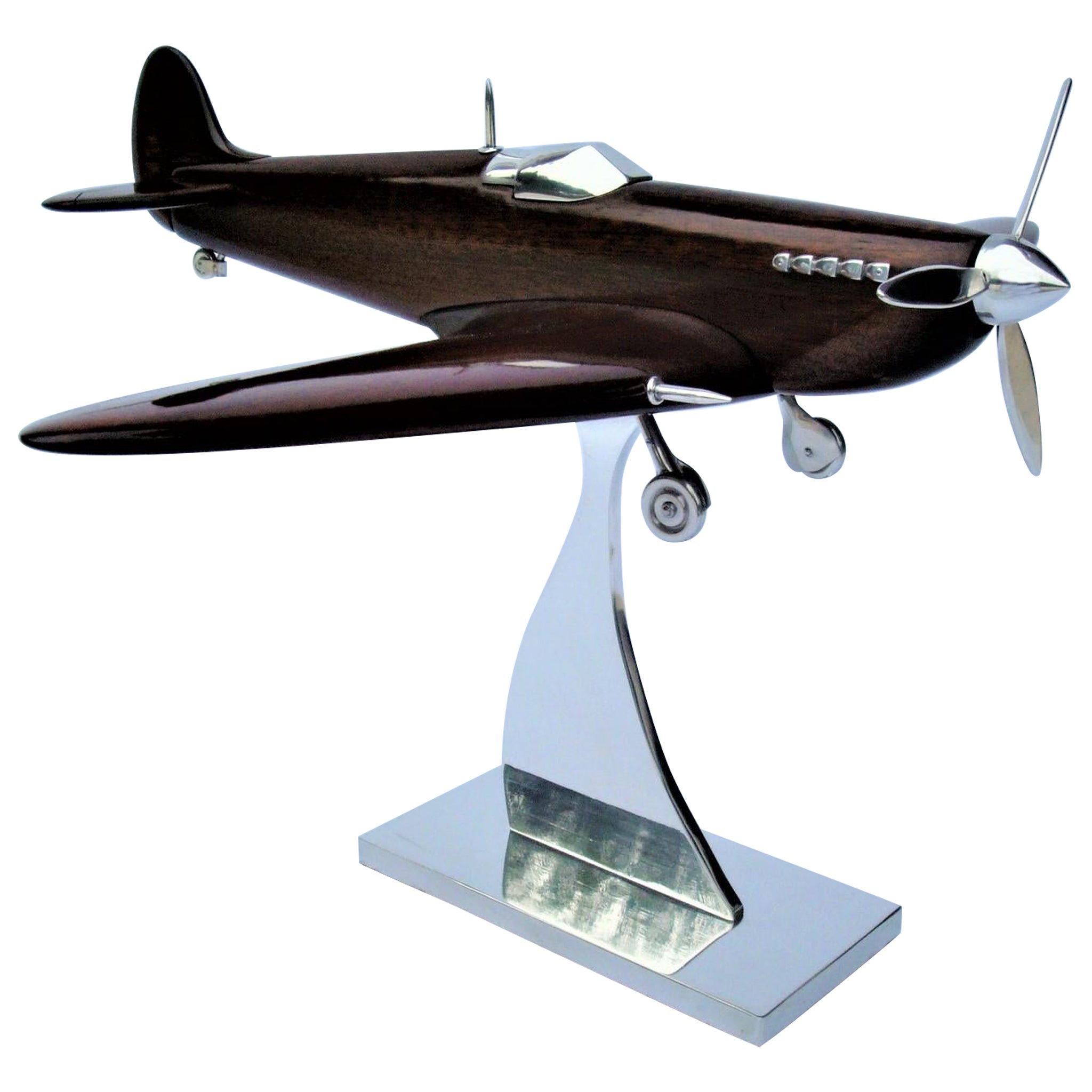 Supermarine Spitfire Wooden & Aluminum Airplane Desk Model, Asprey, ca 1940's