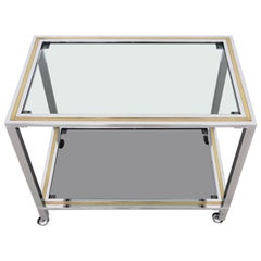 Italian Midcentury Bar Cart or Trolley in Brass and Chrome, 1970s