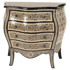 Moroccan Louis XV Style Mother of Pearl Inlaid Chest of Drawers