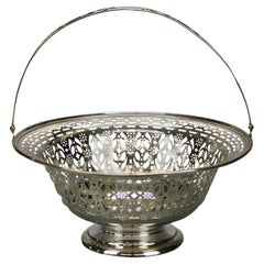 Antique Sterling Silver Reticulated Handled Basket, 15.81 Toz, Circa 1890