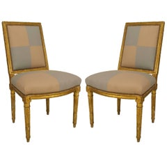 Pair of 18th Century French Louis XVI Gilt Carved Side Chairs