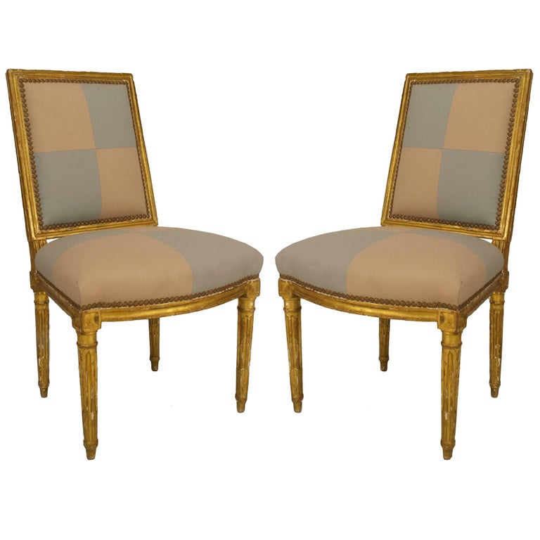 Pair of French Louis XVI Gilt Side Chairs For Sale