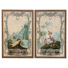 Pair of Large Painted French Pastoral Canvas Panels