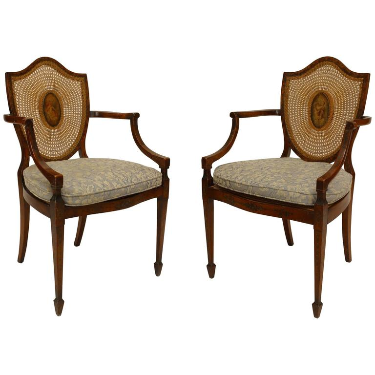 Pair of english sheraton style satinwood and cane shield for What is sheraton style furniture
