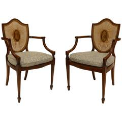 Pair of English Sheraton Style Satinwood and Cane Shield Back Armchairs
