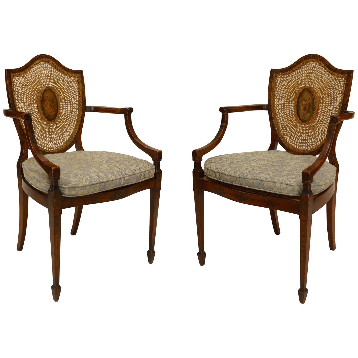 Pair Of English Sheraton Style Satinwood And Cane Shield Back Armchairs For Sale At 1stdibs