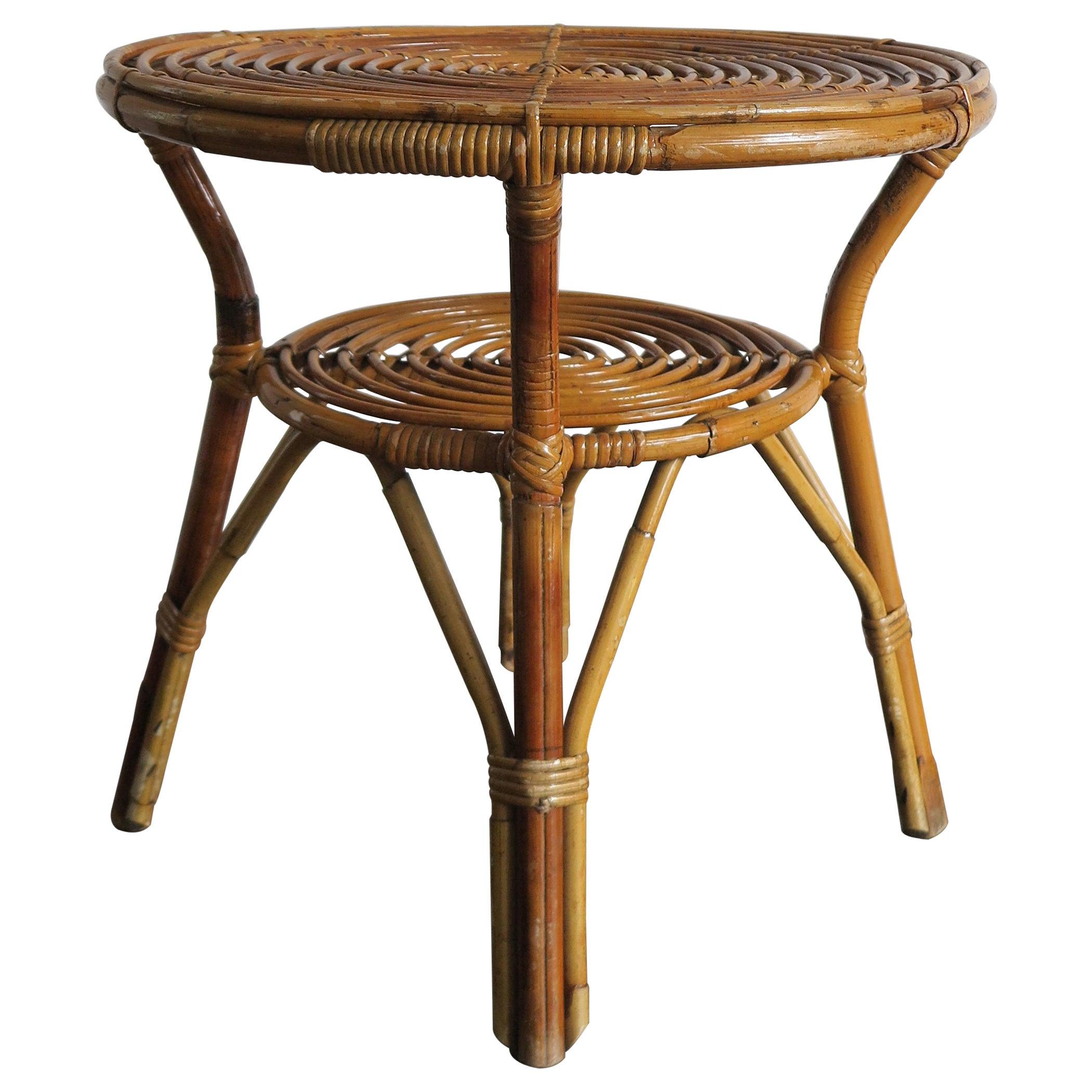 Rattan Bamboo Italian Sofa Table or Coffee Table, Bonacina Style, 1950s
