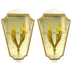 1940s Pair of Italian Mirrored Wall Lights