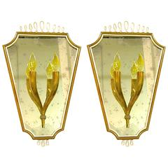 1940s Pair of Italian Mirrored Wall Lights