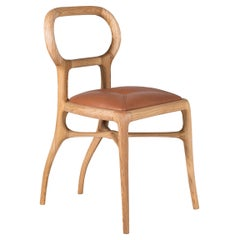 Capriol Dining Chair in Natural Walnut Frame, Leather Seat, by Nigel Coates