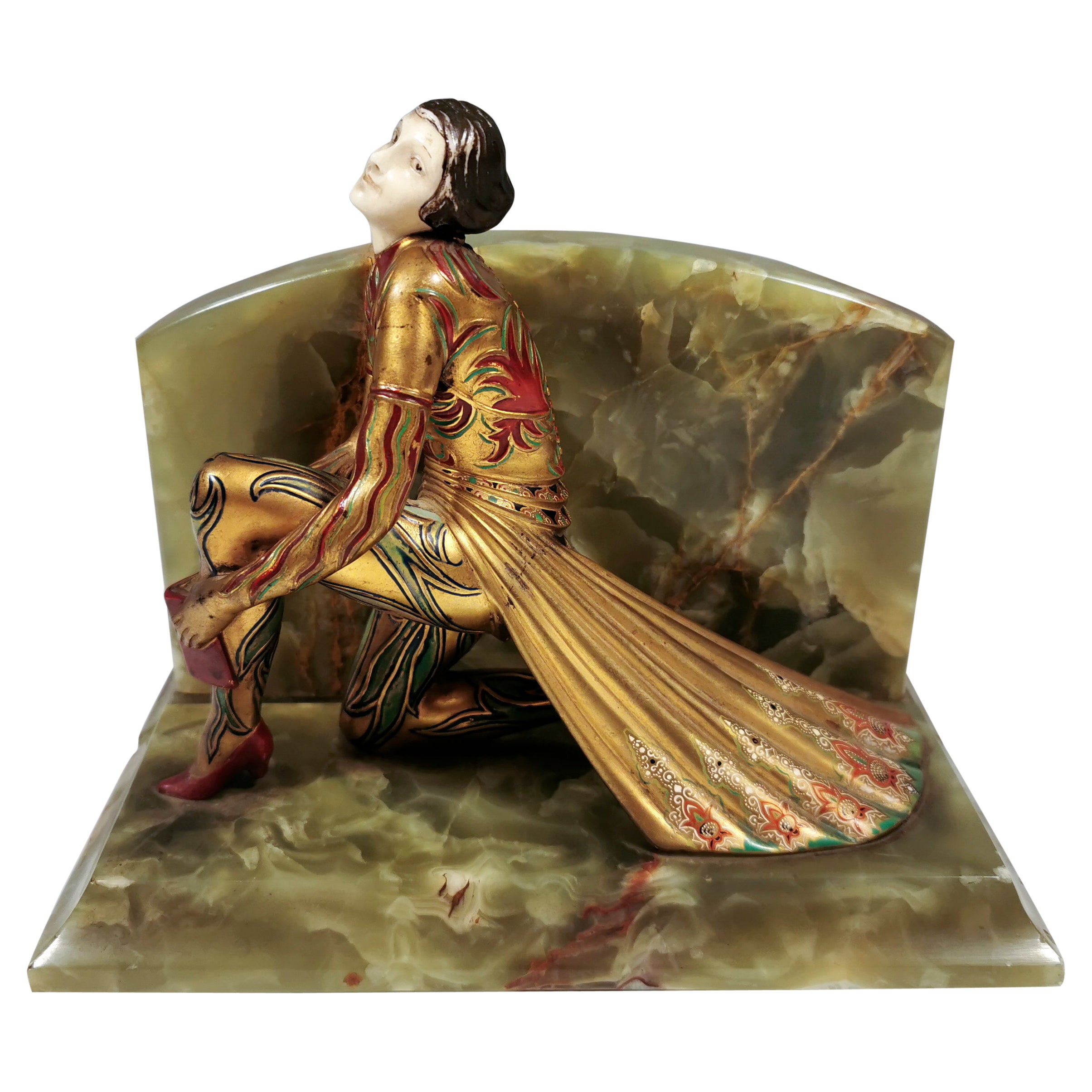 Viennese Bronze 'Fancy Dancer' On Onyx Base as a Bookend, by Gerdago, ca 1925