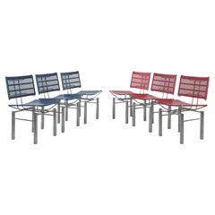 Hans Ullrich Bitsch Set of 11 Red Blue Metal Chairs Series 8600