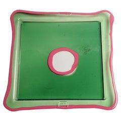 Try-Tray Large Square Tray in Clear Green, Matt Fuchsia by Gaetano Pesce