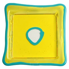 Try-Tray Medium Square Tray in Clear Yellow and Matt Turquoise by Gaetano Pesce