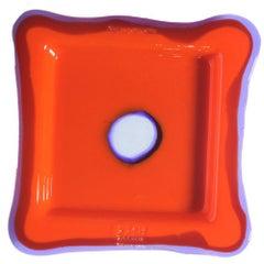 Try-Tray Small Square Tray in Matt Orange, Clear Purple by Gaetano Pesce