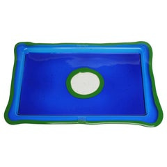 Try-Tray Rectangular Tray in Clear Blue, Matt Green by Gaetano Pesce
