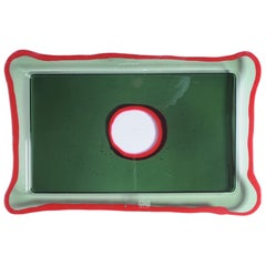 Try-Tray Large Rectangular Tray in Clear Dark Green, Matt Red by Gaetano Pesce