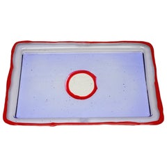 Try-Tray Small Rectangular Tray in Clear Lilac, Matt Red by Gaetano Pesce