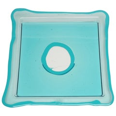 Try-Tray Large Square Tray in Clear Aqua, Matt Turquoise by Gaetano Pesce